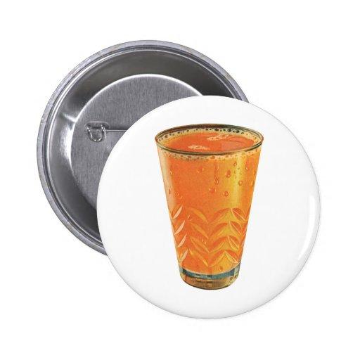 Vintage Beverages, Glass of Orange Juice Breakfast Buttons