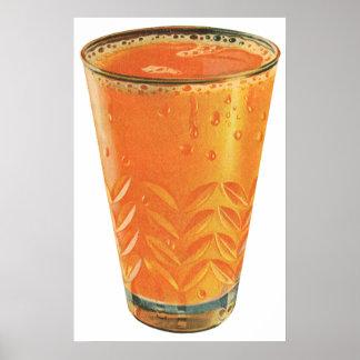 Vintage Beverages, Glass of Orange Juice Breakfast Poster