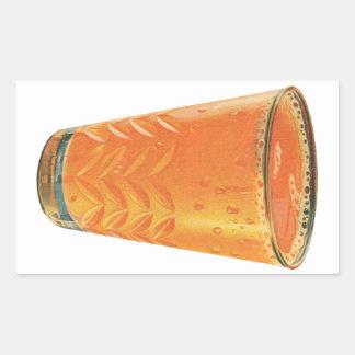 Vintage Beverages Glass of Orange Juice Breakfast Rectangular Stickers