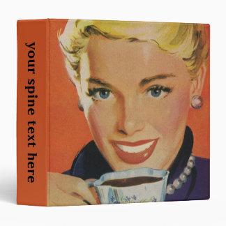 Vintage Beverages, Smiling Woman Drinking Coffee Vinyl Binder