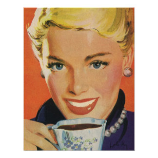 Vintage Beverages, Smiling Woman Drinking Coffee Custom Announcement
