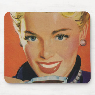 Vintage Beverages, Smiling Woman Drinking Coffee Mousepads