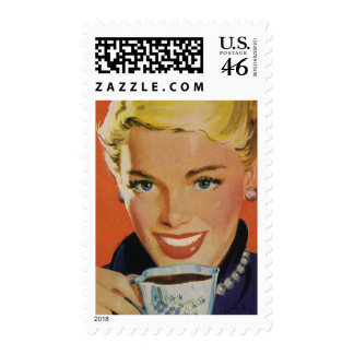 Vintage Beverages, Smiling Woman Drinking Coffee Stamps