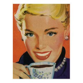 Vintage Beverages, Smiling Woman Drinking Coffee Postcard