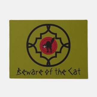 Vintage Beware of the Sabbo Cat Art Doormat