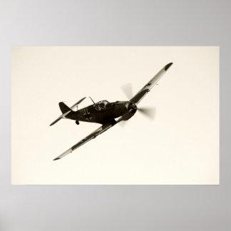 Vintage Bf-109 E-3 Emilio Póster