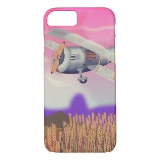 Vintage Bi-Plane Flying over crops iPhone 8/7 Case