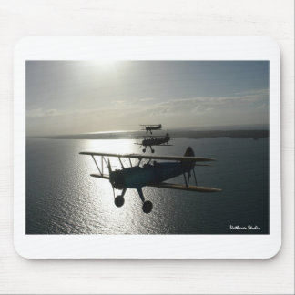 Vintage bi-planes in formation mouse pad