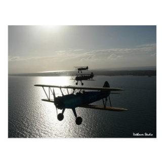 Vintage bi-planes in formation postcards