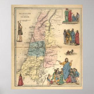 Vintage Bible maps 1856 palestine Value Poster