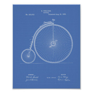 Vintage Bicycle 1883 Patent Art - Blueprint Poster