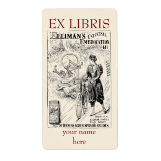 Vintage bicycle advert bookplate shipping label