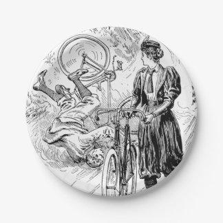 Vintage bicycle advert paper plate