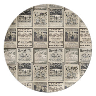 Vintage Bicycle Advertising Collage Dinner Plates
