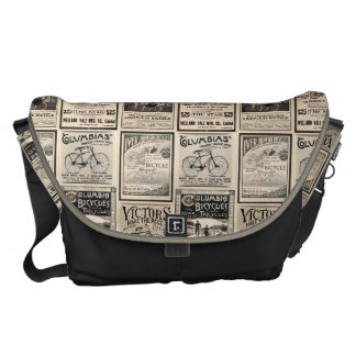 Vintage Bicycle Advertising Collage Courier Bag
