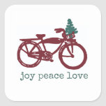 Vintage bicycle and Christmas tree design Square Sticker