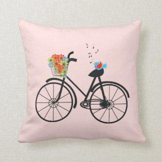 Vintage Bicycle and Singing Bird Pillow