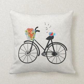 Vintage Bicycle and Singing Bird Throw Pillow