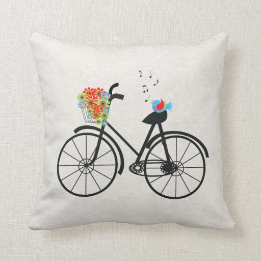 Throw Pillows With Bikes : Vintage Bicycle and Singing Bird Throw Pillow Zazzle