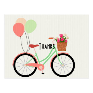 Vintage Bicycle and Tulips Thank You Postcard