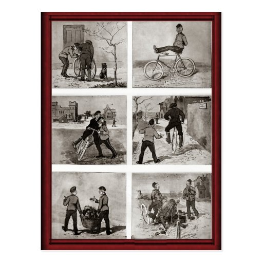 Vintage bicycle antics post cards