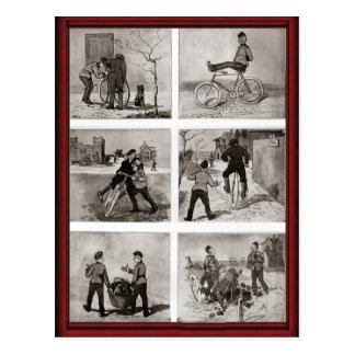 Vintage bicycle antics postcard