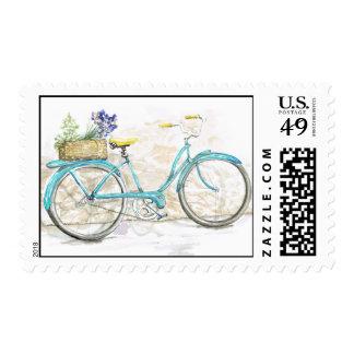 Vintage Bicycle Aqua Watercolor Postage