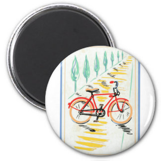 Vintage Bicycle Art 2 Inch Round Magnet