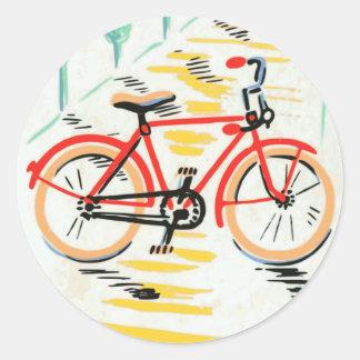 Vintage Bicycle Art Classic Round Sticker