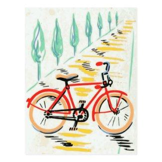 Vintage Bicycle Art Postcard