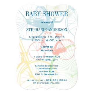 Vintage Bicycle Baby Boy Shower Invitations