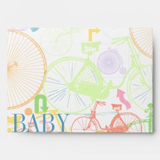 vintage bicycle baby boy shower invitations envelope zazzle