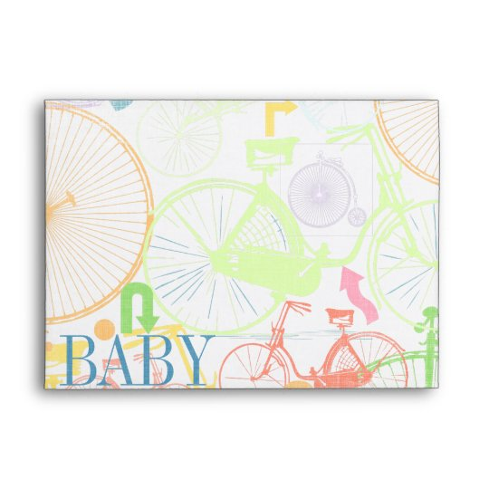 Vintage Bicycle Baby Boy Shower Invitations Envelope