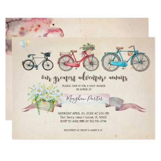 Vintage bicycle baby shower invitation zazzle vintage bicycle baby shower invitation filmwisefo