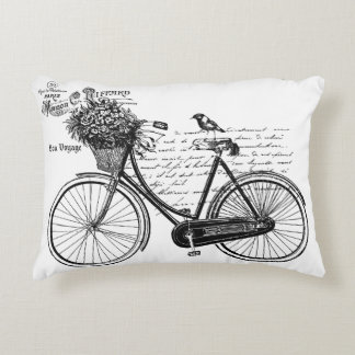 Vintage Bicycle, Bird, Flowers, Paris Decorative Pillow