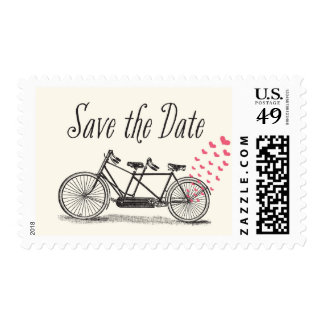 Vintage Bicycle Built For Two Save the Date Postage Stamp