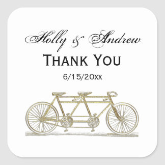 Vintage Bicycle Built For Two / Tandem Bike Gold Square Sticker