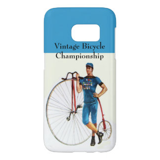 Vintage Bicycle Championship, Blue White Samsung Galaxy S7 Case