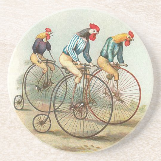 Vintage Bicycle Chickens Coaster