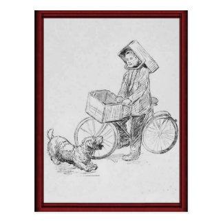 Vintage bicycle delivery boy postcard