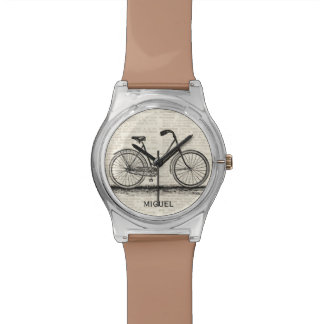 Vintage Bicycle Dictionary Page Custom Name Brown Wristwatch