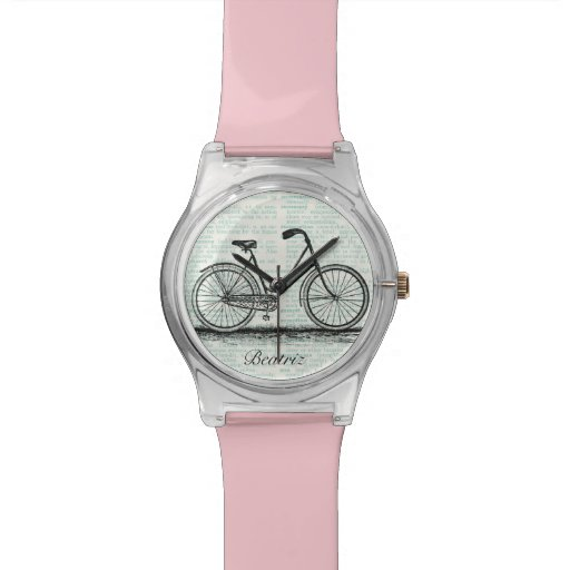 Vintage Bicycle Dictionary Page Personalized Name Wrist Watches