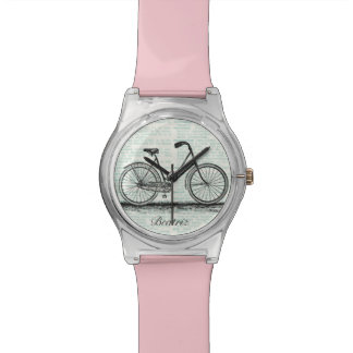Vintage Bicycle Dictionary Page Personalized Name Wristwatch