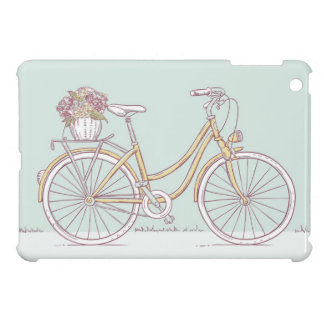 Vintage Bicycle Drawing Flower Basket iPad Mini Cases