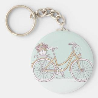 Vintage Bicycle Drawing Flower Basket Key Chains