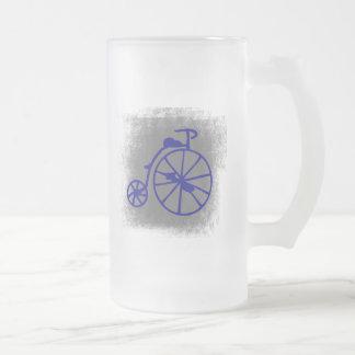 Vintage Bicycle Frosted Glass Beer Mug