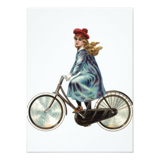 "Vintage Bicycle girl 5.5"" X 7.5"" Invitation Card"