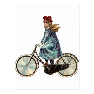 Vintage Bicycle girl Postcard