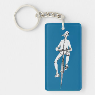 Vintage Bicycle Guy Smoking Cigar Graphic Funny Keychain