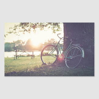 Vintage Bicycle in Sunny Day Rectangular Sticker